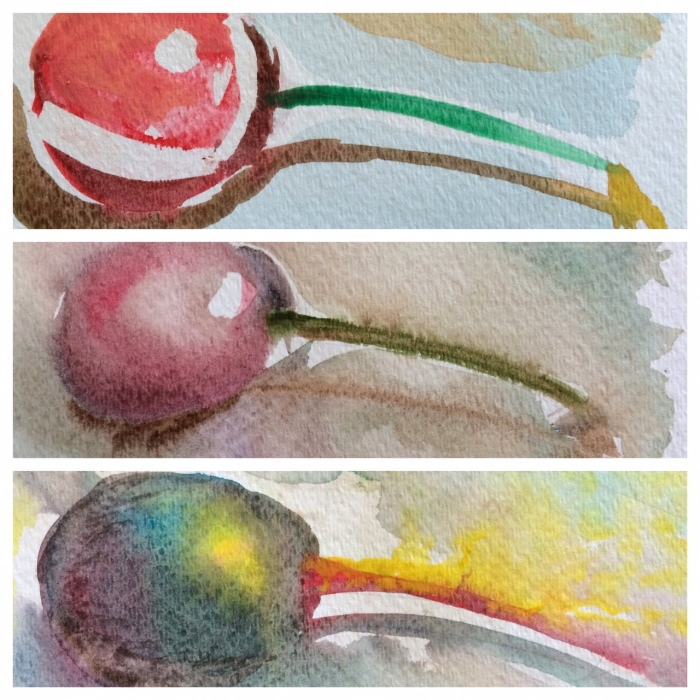 "My favorite of the day. Detail of three versions. One ""dry on dry"" with white masking. One ""wet on wet"" with muted colors. One wet on wet with atypical colors. I almost decided not to paint this image at all, thinking it was too simple."