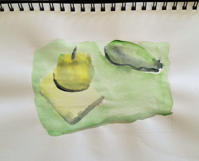 "We had 30 seconds to do a ""watercolor sketch"" of this monochromatic still life. A basic starting point that will mature in later versions."