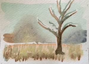 Less work than v.1 but I like the 'hint' of mountains and the use of white masking on the tree.