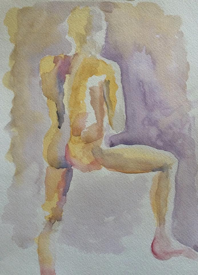 Male nude - before adding pen & ink outlines.  I loved the non-traditional complementary color palette and the abstract quality.
