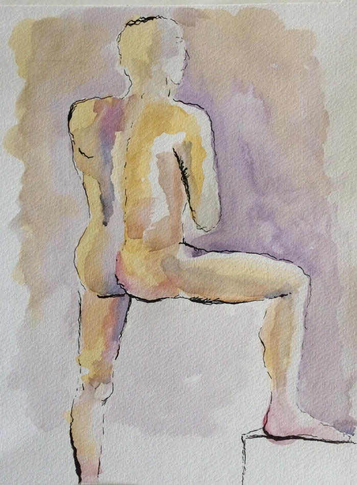 Male nude - after adding pen & ink outline.
