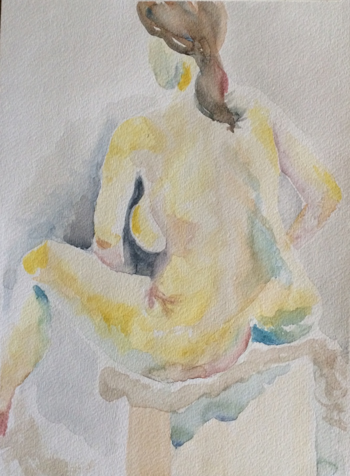 Female nude - using more impressionistic color palette and no outlines at all.