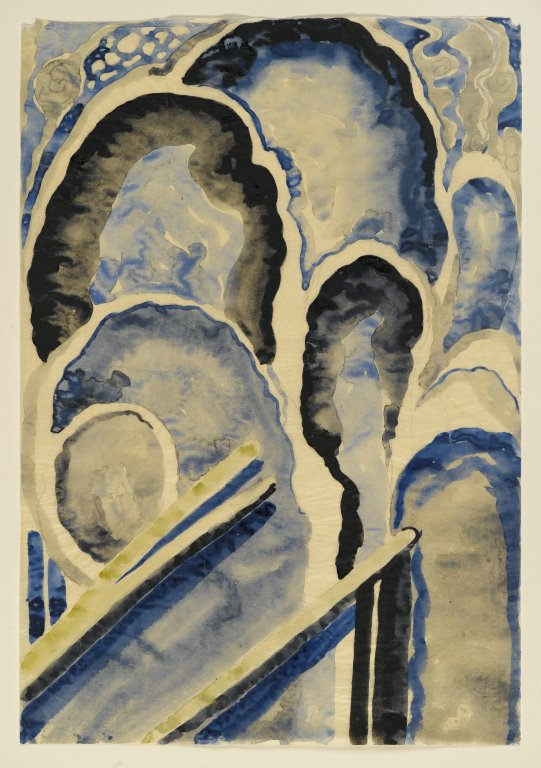 """Blue #1"" by Georgia O'Keeffe (1887–1986). Watercolor and graphite on paper, circa 1916 (15.9 × 10.9 in). Current location Brooklyn Museum - American Art collection."
